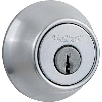 Kwikset Satin Chrome Adjustable Latch Double Cylinder Deadbolt