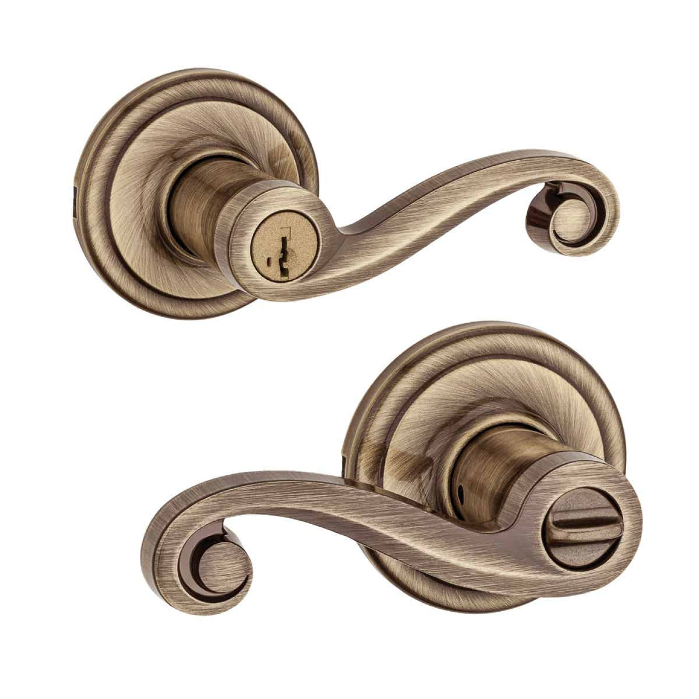 Kwikset Signature Series Antique Brass Lido Entry Door Lever with Smartkey Image 3