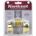 Kwikset Polished Brass Adjustable Latch Double Cylinder Deadbolt Image 2