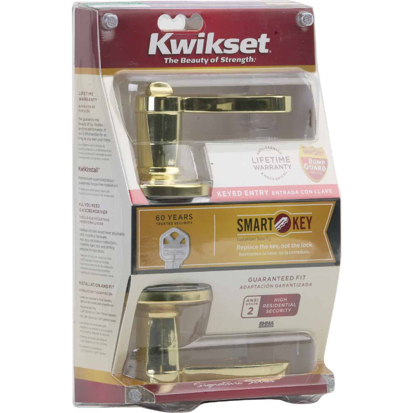 Kwikset Signature Series Polished Brass Lido Entry Door Lever with Smartkey Image 2