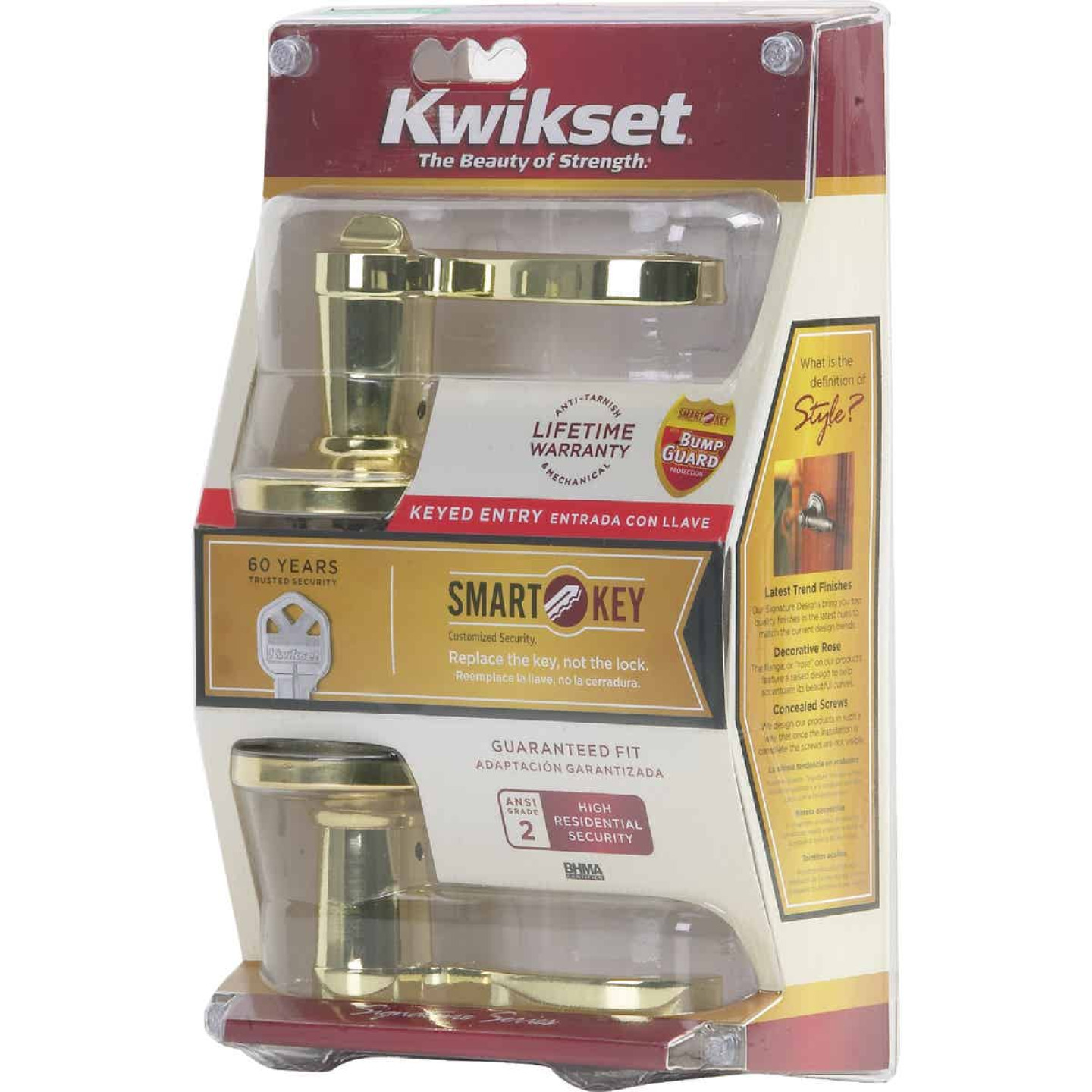 Kwikset Signature Series Polished Brass Lido Entry Door Lever with Smartkey Image 5