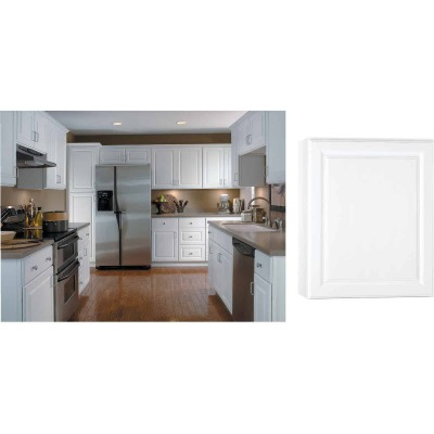 Continental Cabinets Hamilton 24 In. W x 30 In. H x 12 In. D Satin White Maple Wall Kitchen Cabinet