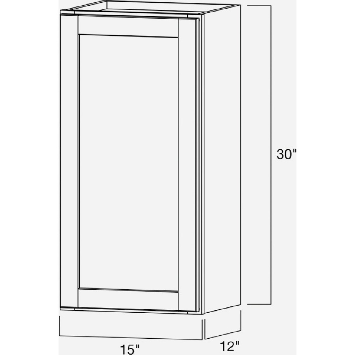 Continental Cabinets Andover Shaker 15 In. W x 30 In. H x 12 In. D White Thermofoil Wall Kitchen Cabinet Image 5
