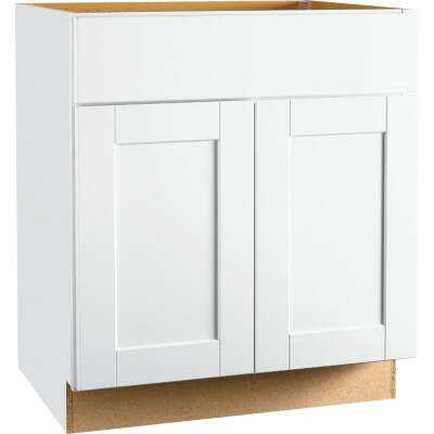Continental Cabinets Andover Shaker 30 In. W x 34-1/2 In. H x 21 In. D White Vanity Sink Base