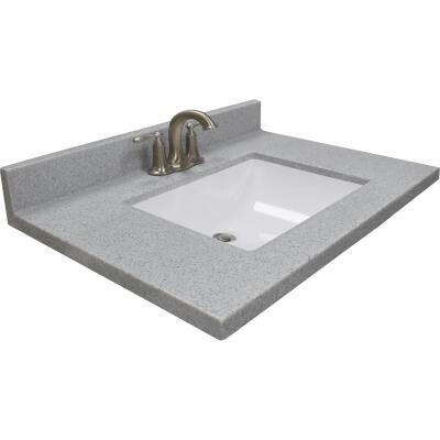 Modular Vanity Tops 31 In. W x 22 In. D Pewter Cultured Marble Vanity Top with Rectangular Wave Bowl