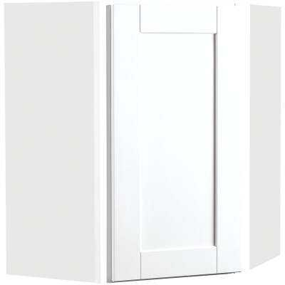 Continental Cabinets Andover Shaker 24 In. W. x 30 In. H. x 12 In. D. White Thermofoil Corner Wall Kitchen Cabinet