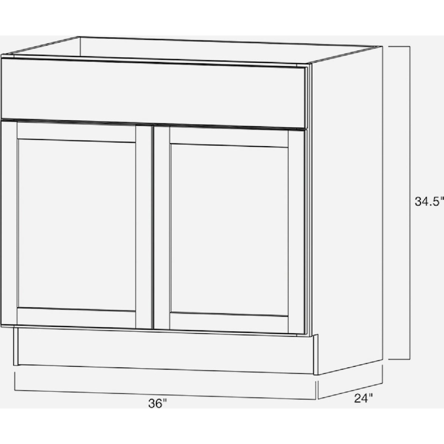 Continental Cabinets Andover Shaker 36 In. W x 34-1/2 In. H x 24 In. D White Thermofoil Sink Base Kitchen Cabinet Image 4
