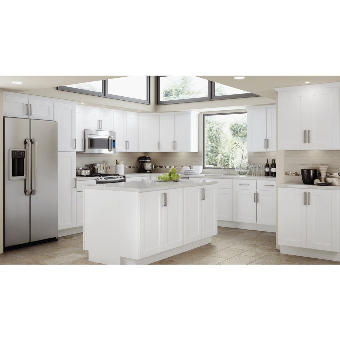 Continental Cabinets Andover Shaker 36 In. W x 34-1/2 In. H x 24 In. D White Thermofoil Sink Base Kitchen Cabinet Image 2