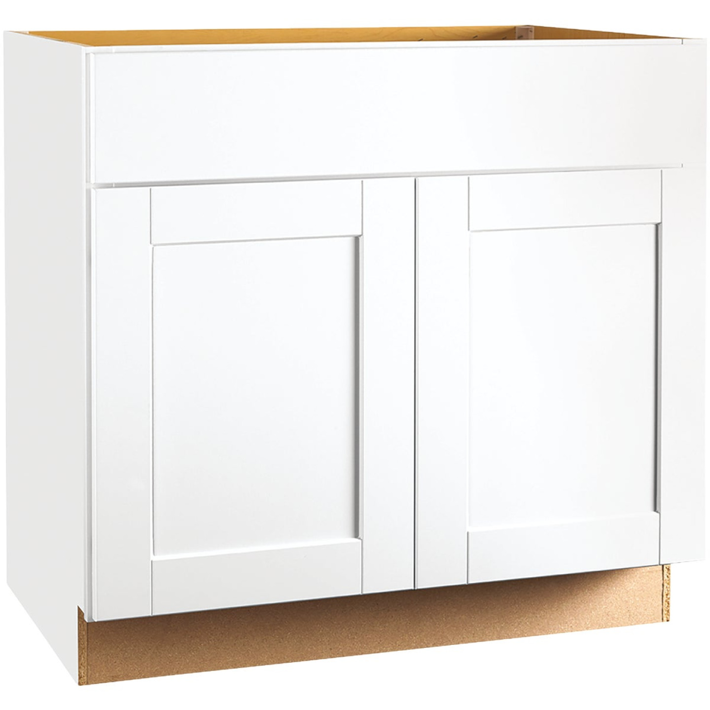 Continental Cabinets Andover Shaker 36 In. W x 34-1/2 In. H x 24 In. D White Thermofoil Sink Base Kitchen Cabinet Image 1