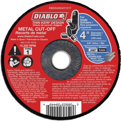 Diablo Type 1 4 In. x 0.040 In. x 5/8 In. Metal Cut-Off Wheel
