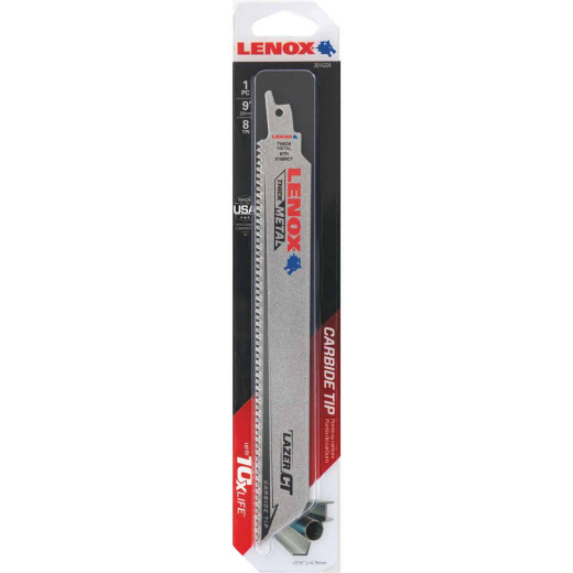 Lenox Lazer CT 9 In. 8 TPI Thick Metal/Cast Iron/Stainless Reciprocating Saw Blade