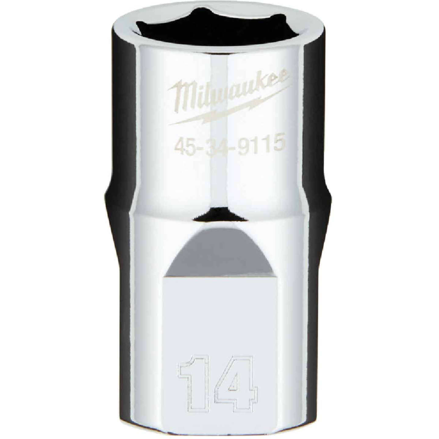 Milwaukee 1/2 In. Drive 14 mm 6-Point Shallow Metric Socket with FOUR FLAT Sides Image 1