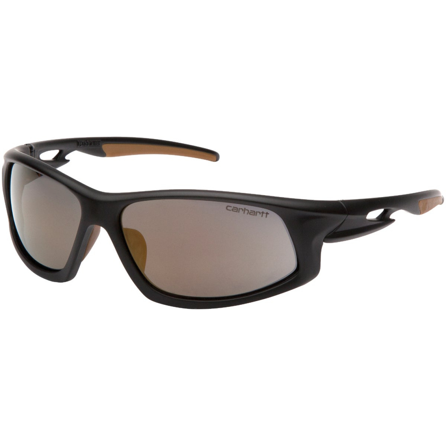 Carhartt Ironside Black & Tan Frame Safety Glasses with Antique Mirror Anti-Fog Lenses Image 1