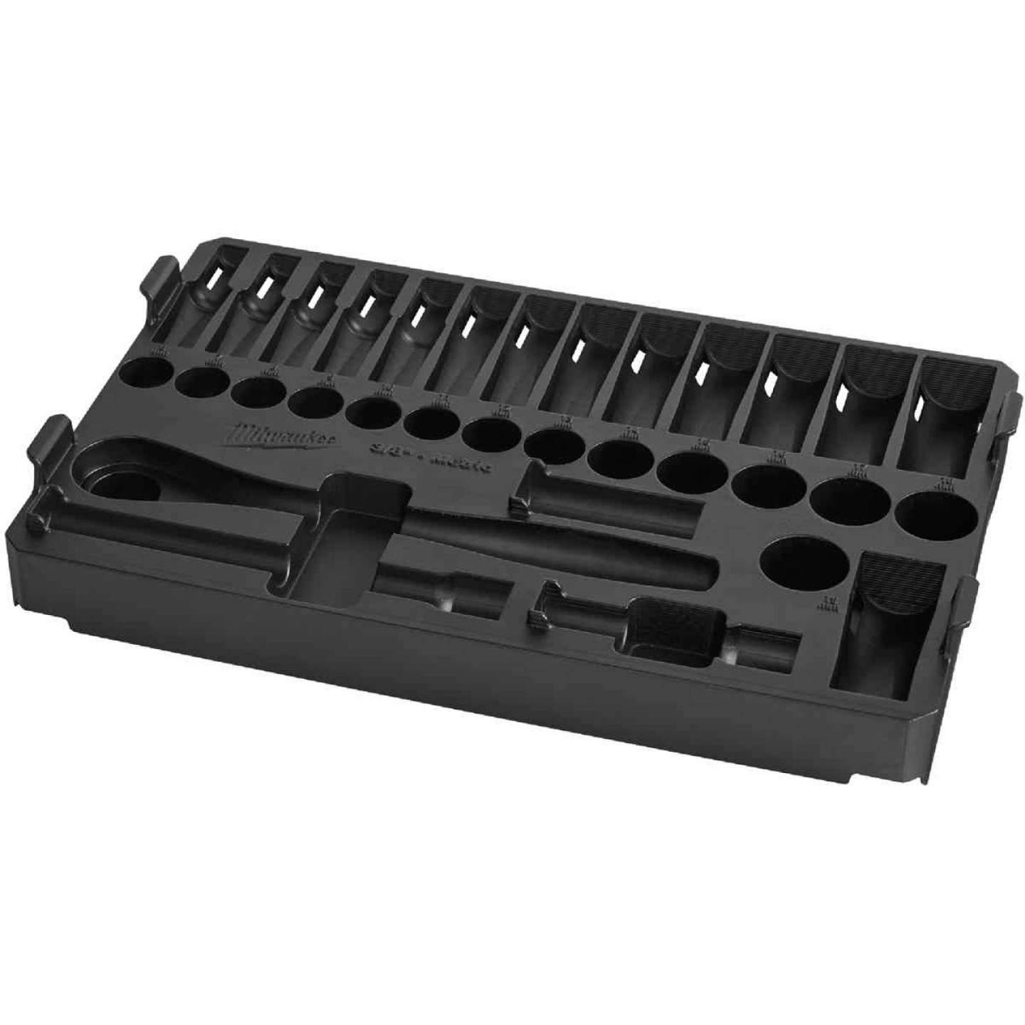 Milwaukee 32-Piece 3/8 In. Drive Metric PACKOUT Tray Ratchet & Socket Holder Image 1