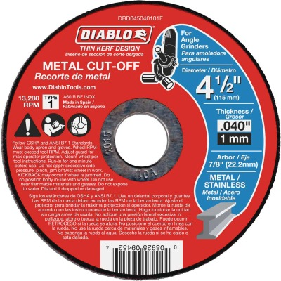 Diablo Type 1 4-1/2 In. x 0.040 In. x 7/8 In. Metal Cut-Off Wheel (15-Pack)