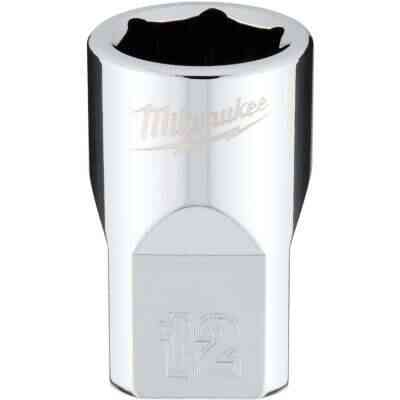 Milwaukee 3/8 In. Drive 12 mm 6-Point Shallow Metric Socket with FOUR FLAT Sides