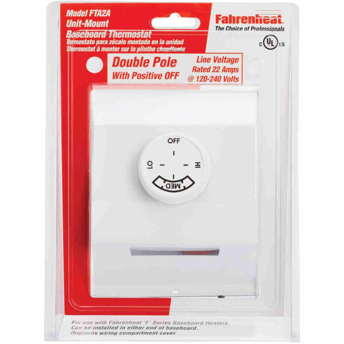 FAHRENHEAT White Double with Off Position 22A at 120-277V AC Electric Baseboard Heater Thermostat Image 2