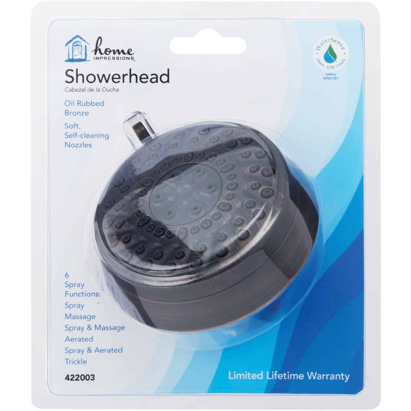 Home Impressions 6-Spray 1.8 GPM Fixed Showerhead, Oil-Rubbed Bronze Image 2