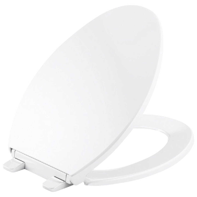 Kohler Brevia Quick-Release Elongated Closed Front White Plastic Toilet Seat Image 1