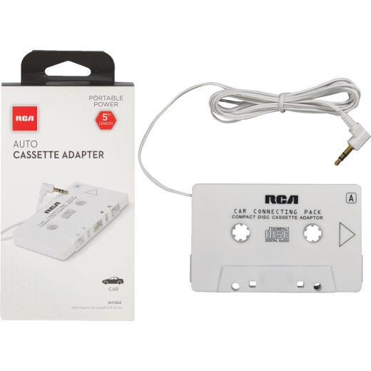 RCA 2 Ft. Cord 3.5mm Plug White Auto Cassette Adapter