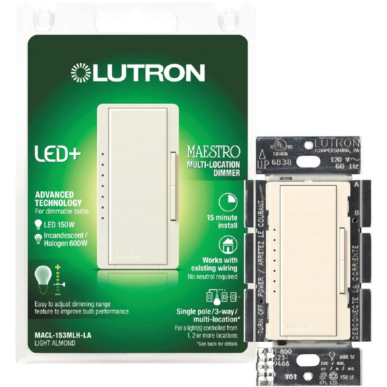 Lutron Maestro CL Light Almond 120 VAC Wireless Dimmer Image 1
