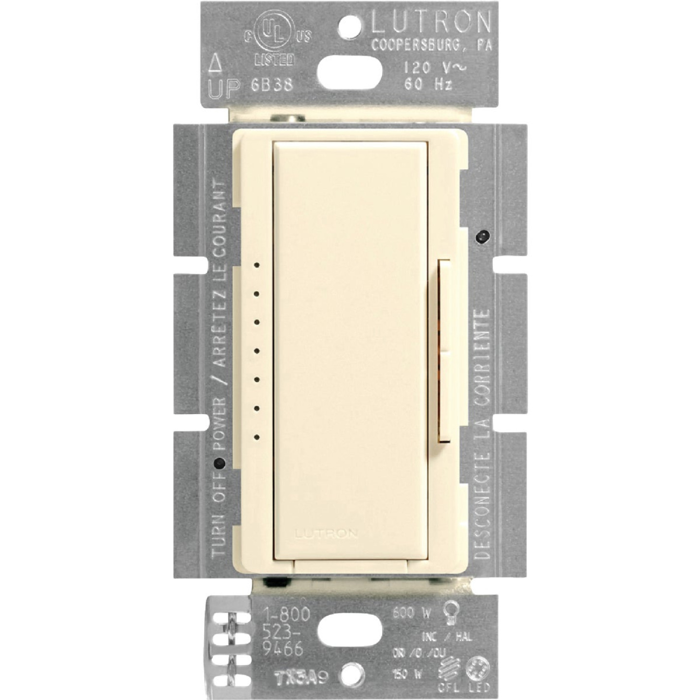 Lutron Maestro CL Light Almond 120 VAC Wireless Dimmer Image 3