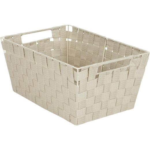 Home Impressions 10 In. W. x 6.75 In. H. x 14 In. L. Woven Storage Basket with Handles, Beige