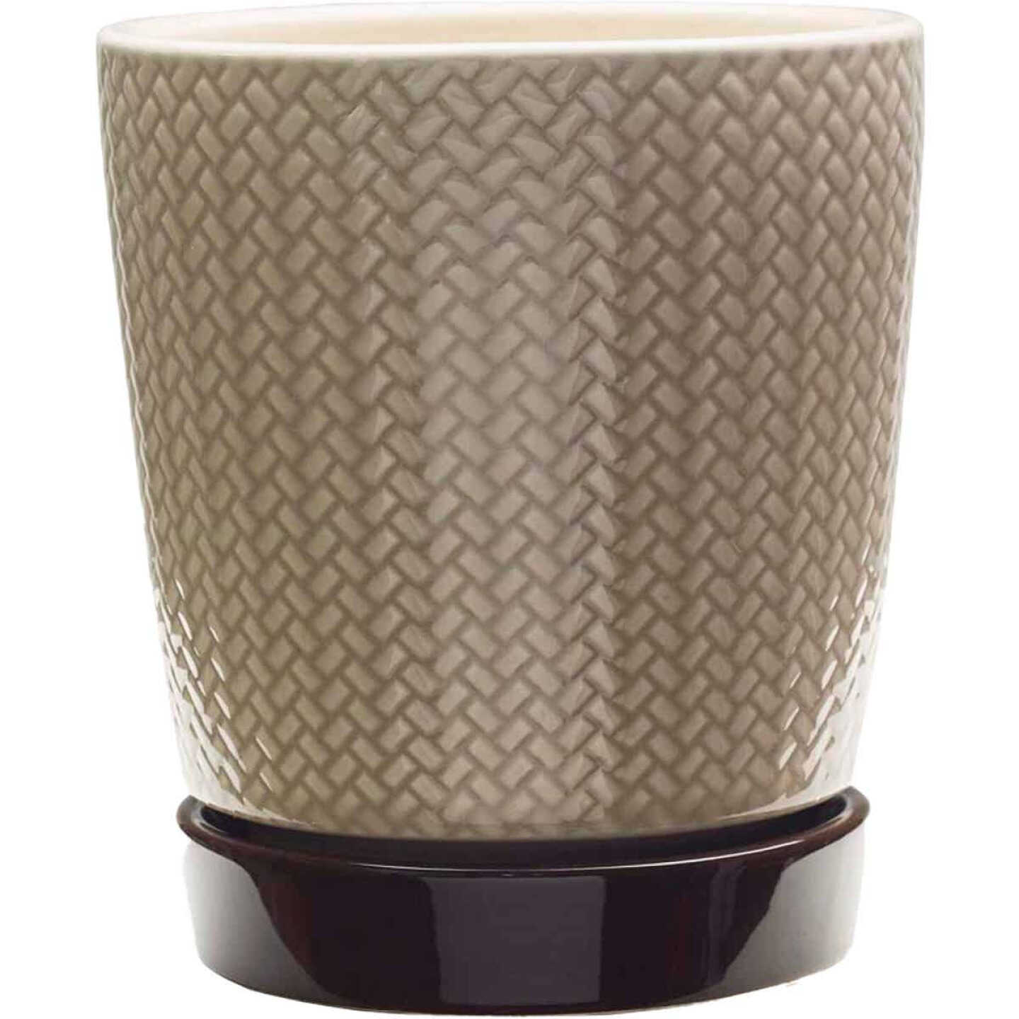Southern Patio Alice 8-1/2 In. Ceramic Clayworks Light Brown Planter Image 1