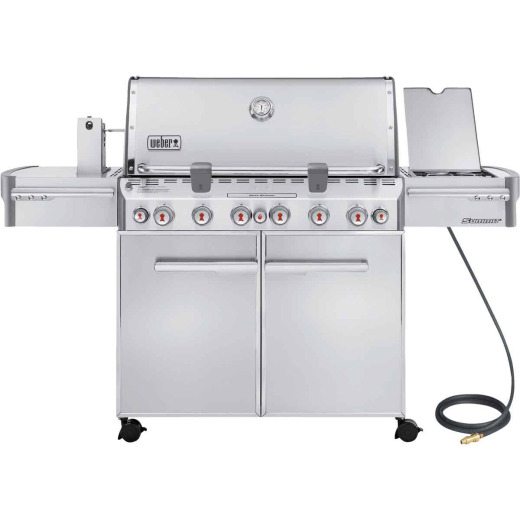 Weber Summit S-670 6-Burner Stainless Steel 60,000-BTU Natural Gas Grill with 12,000-BTU Side -Burner