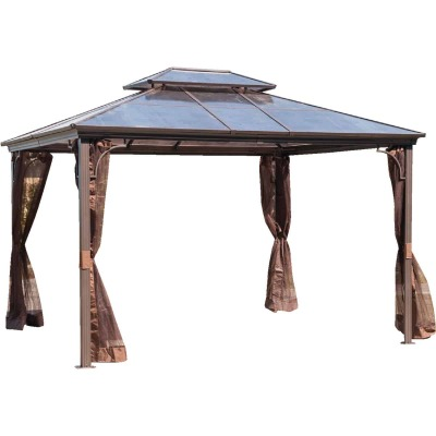 SunJoy 10 Ft. W. 10 Ft. H. x 12 Ft. L. Brown Steel Hard Top Gazebo