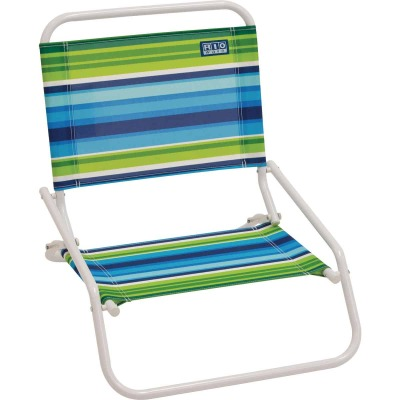 Rio Brands Aloha 1-Position Striped Steel Folding Sand Chair