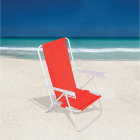 Rio Brands Wave 5-Position Persimmon Red Steel Folding Beach Chair Image 2