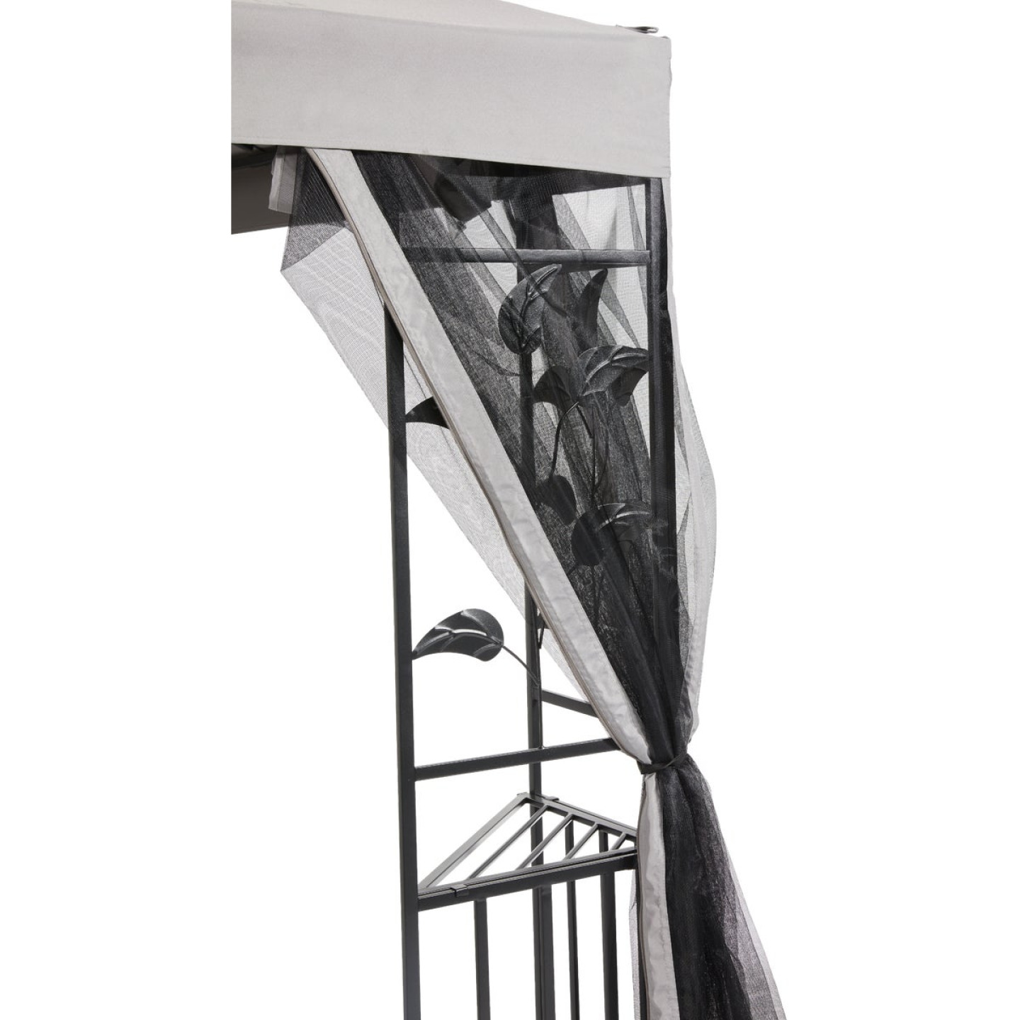 Outdoor Expressions 10 Ft. x 10 Ft. Gray & Black Steel Gazebo with Sides Image 11