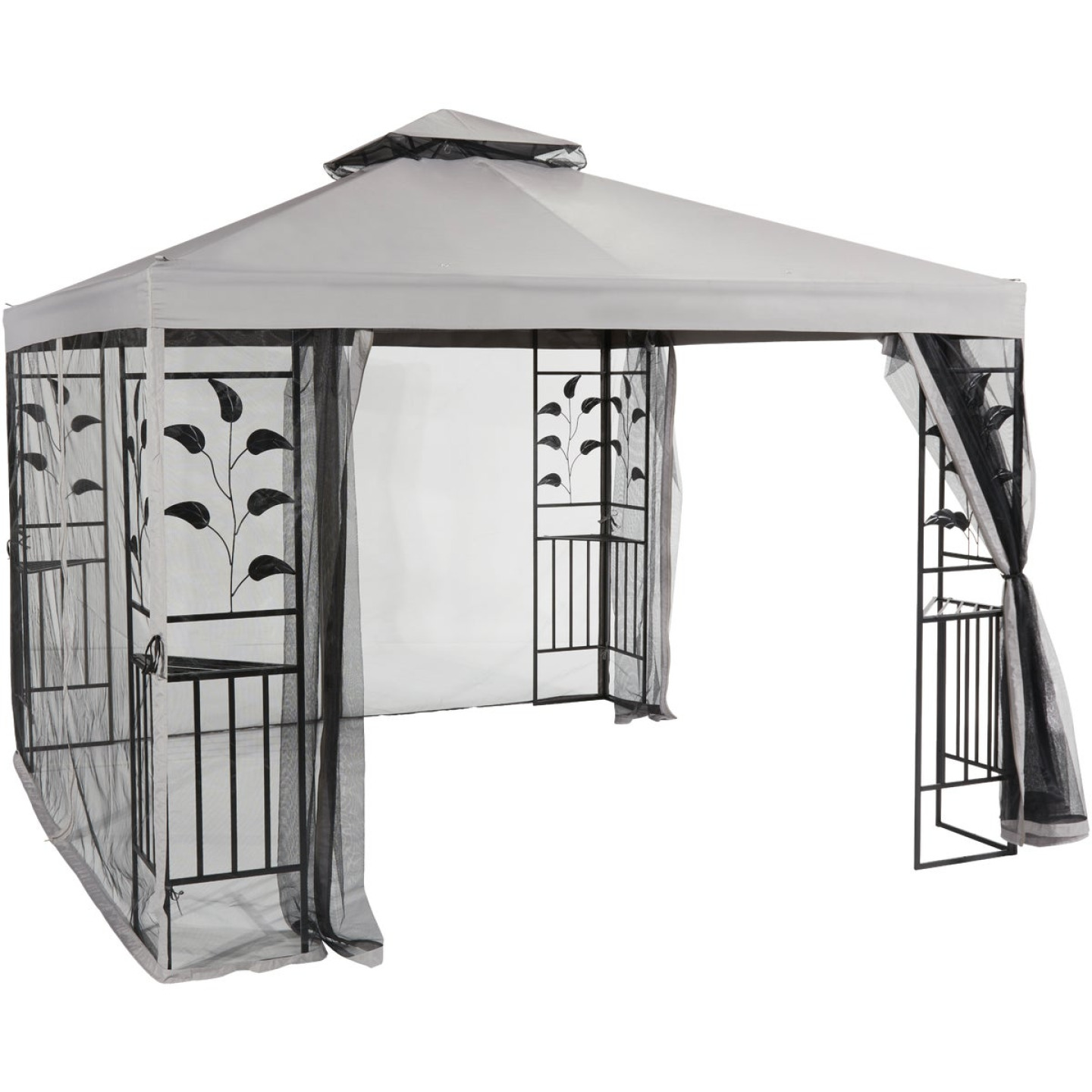 Outdoor Expressions 10 Ft. x 10 Ft. Gray & Black Steel Gazebo with Sides Image 10