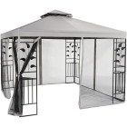 Outdoor Expressions 10 Ft. x 10 Ft. Gray & Black Steel Gazebo with Sides Image 9