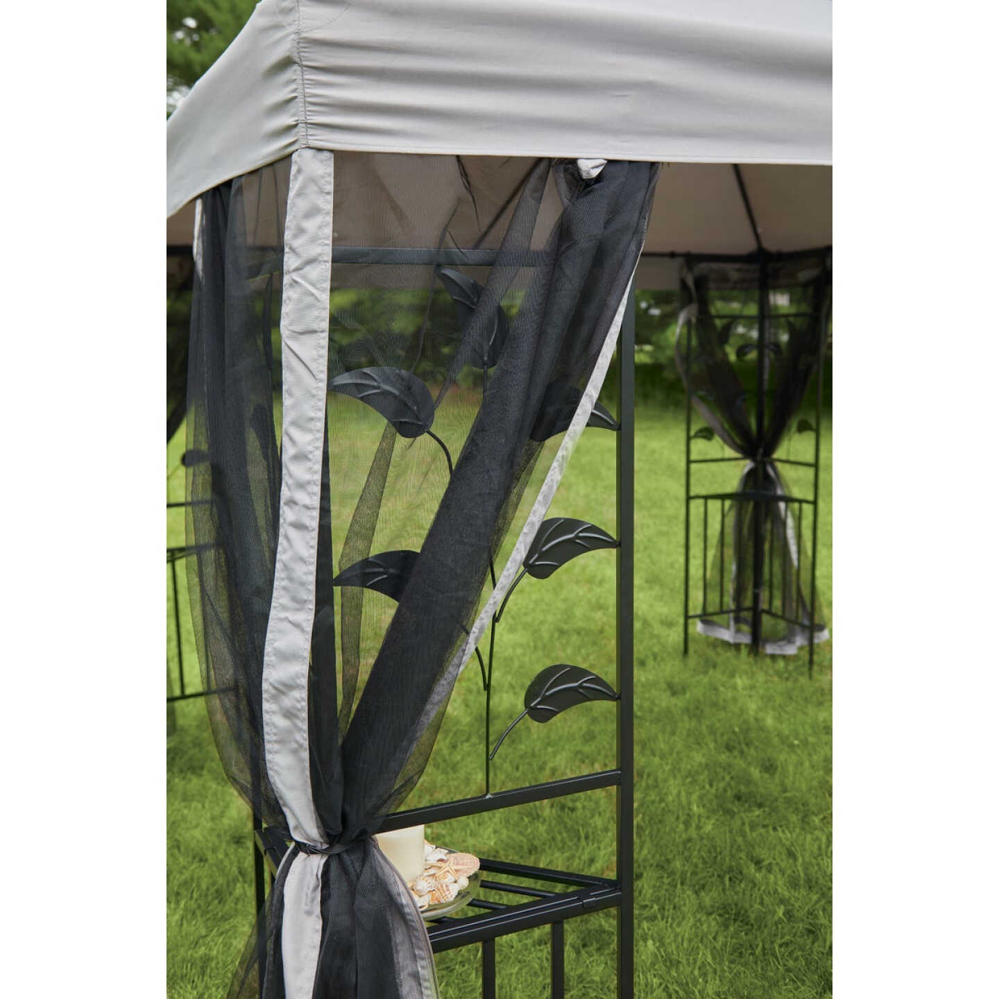 Outdoor Expressions 10 Ft. x 10 Ft. Gray & Black Steel Gazebo with Sides Image 7