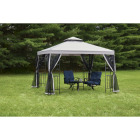 Outdoor Expressions 12 Ft. x 12 Ft. Gray & Black Steel Gazebo with Sides Image 3