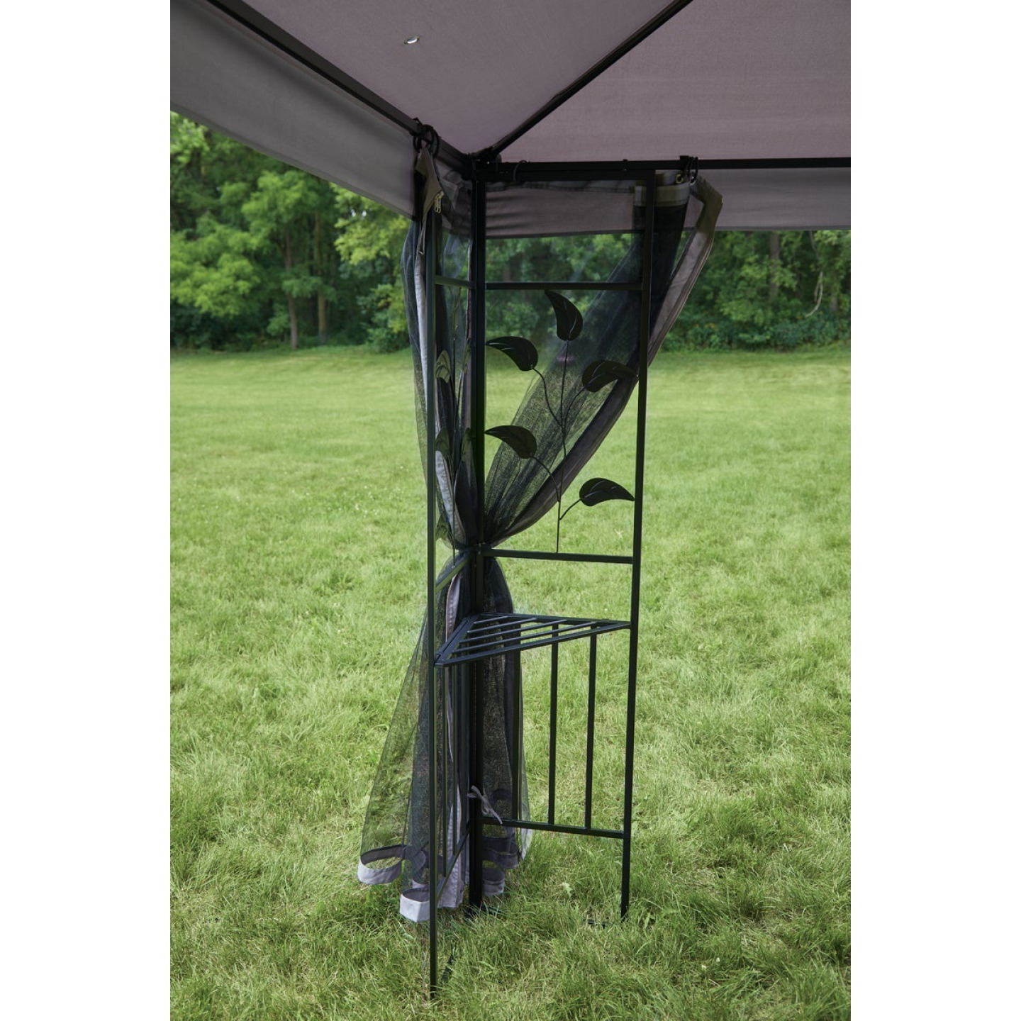 Outdoor Expressions 12 Ft. x 12 Ft. Gray & Black Steel Gazebo with Sides Image 6