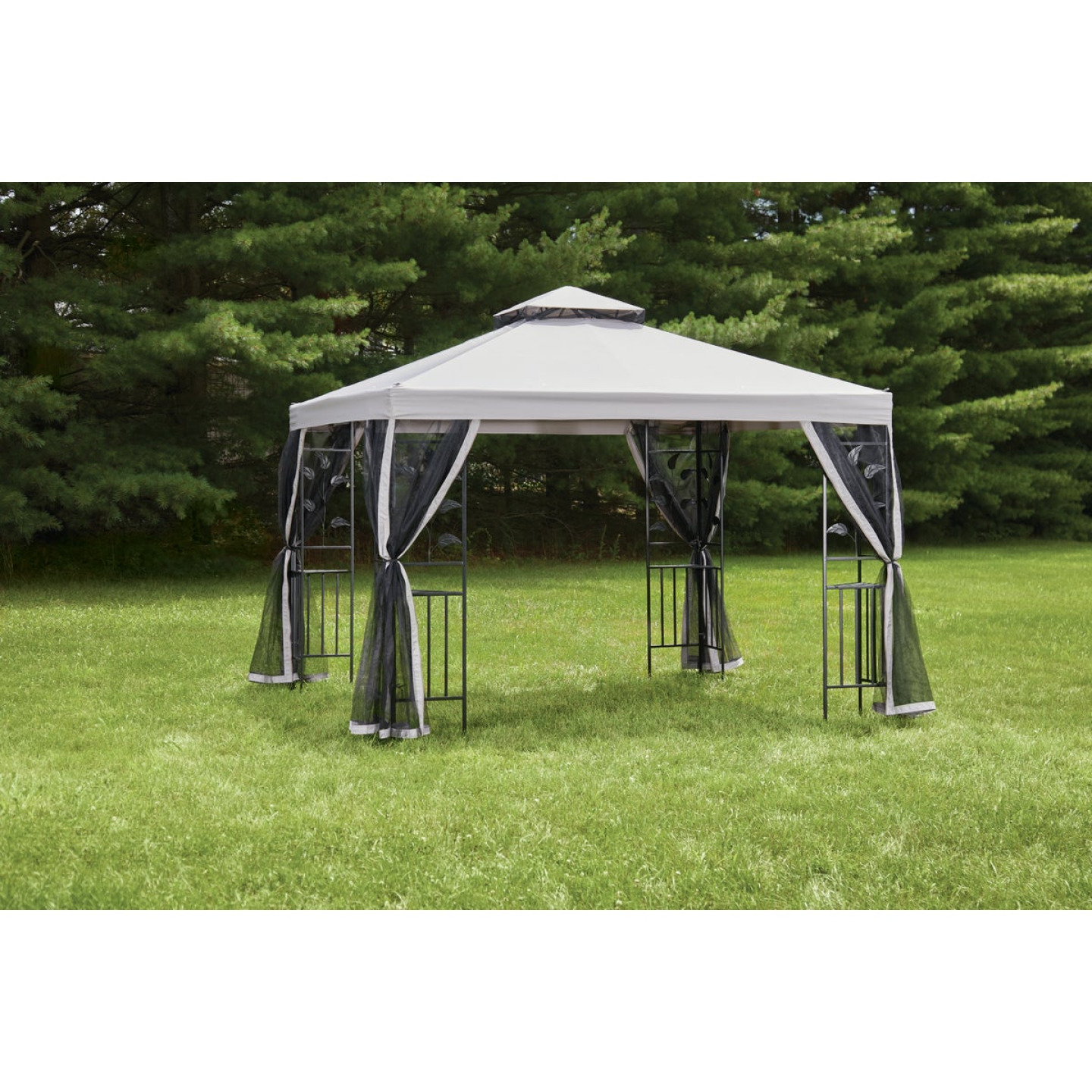 Outdoor Expressions 12 Ft. x 12 Ft. Gray & Black Steel Gazebo with Sides Image 4