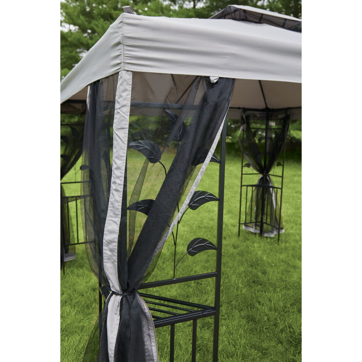 Outdoor Expressions 12 Ft. x 12 Ft. Gray & Black Steel Gazebo with Sides Image 8