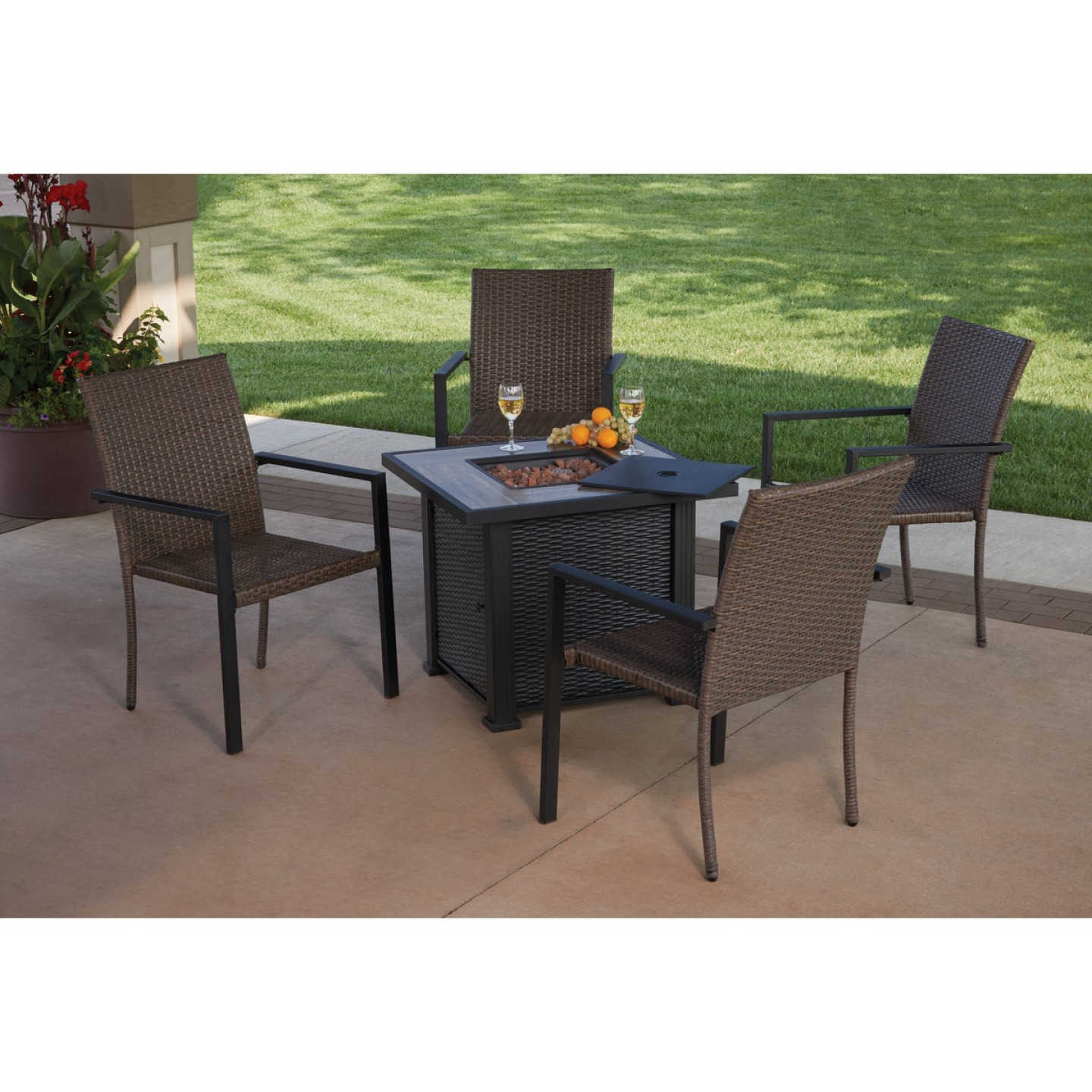 Leisure Classics Madrid 5-Piece Fire Table Chat Set Image 4