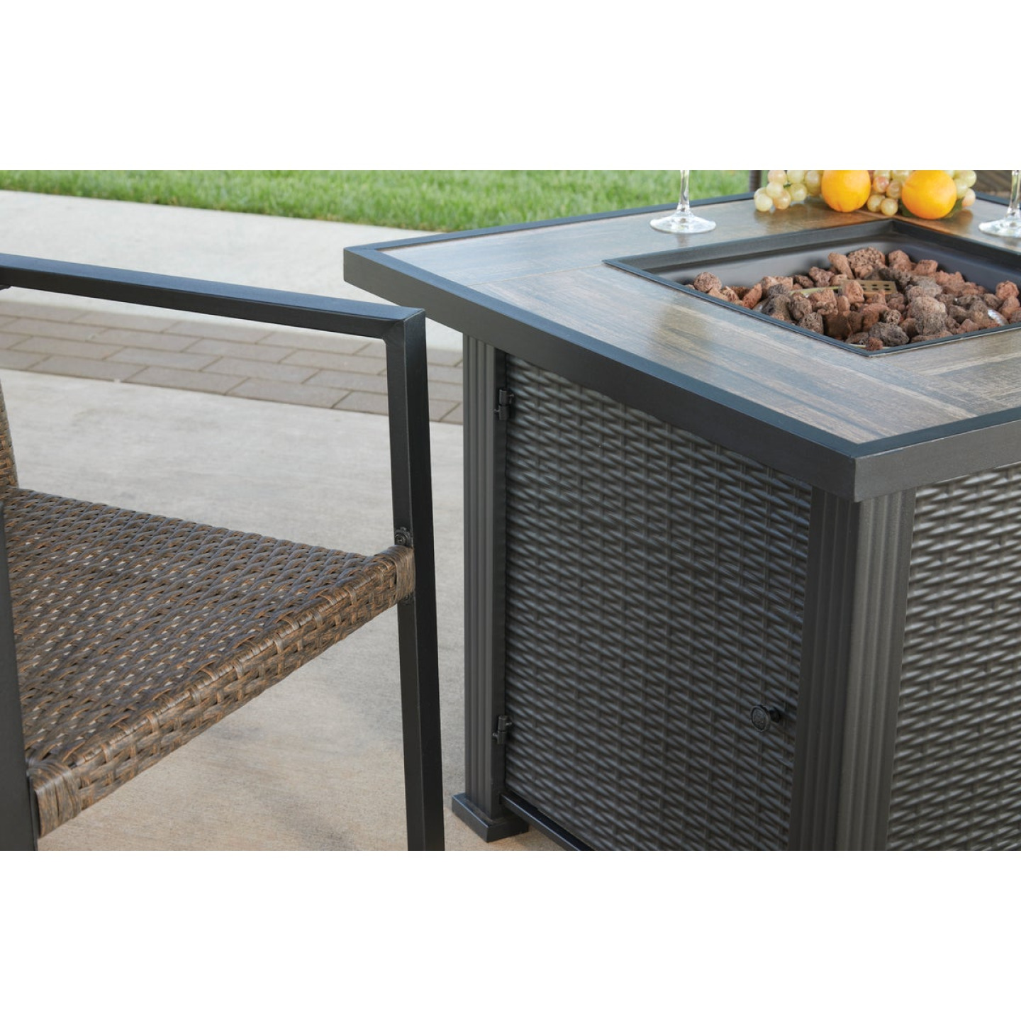 Leisure Classics Madrid 5-Piece Fire Table Chat Set Image 8