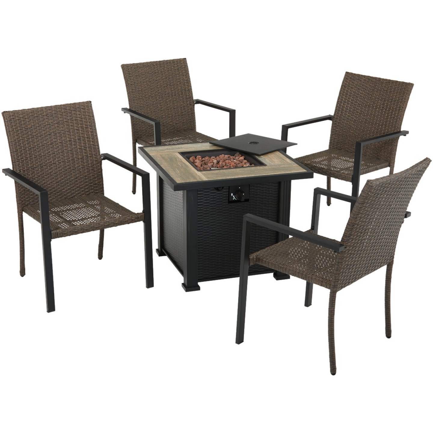 Leisure Classics Madrid 5-Piece Fire Table Chat Set Image 1